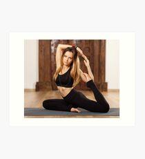 Woman yoga trainer in asana Art Print