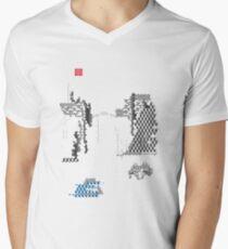 abstrakte Landschaft, abstract landscape, geometric pattern,Gong Fu T-Shirt mit V-Ausschnitt für Männer