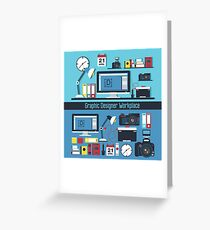 Graphic Designer Workplace Concept. Table with Computer and Designer Tools and set of elements Greeting Card