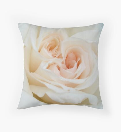 Close Up View Of A Romantic White Wedding Rose Throw Pillow