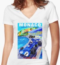 """MONACO GRAND PRIX"" Vintage Auto Racing Print Women's Fitted V-Neck T-Shirt"