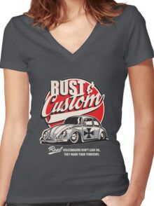 Rust & Custom Lowrider Beetle Women's Fitted V-Neck T-Shirt