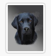 Black Labrador Dog Water Color Art Painting Sticker