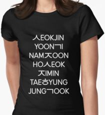 BTS members (hangul) - Black version Women's Fitted T-Shirt