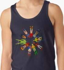 Superhero Butts Scattered on Black Tank Top