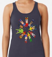 Superhero Butts Scattered on Black Racerback Tank Top