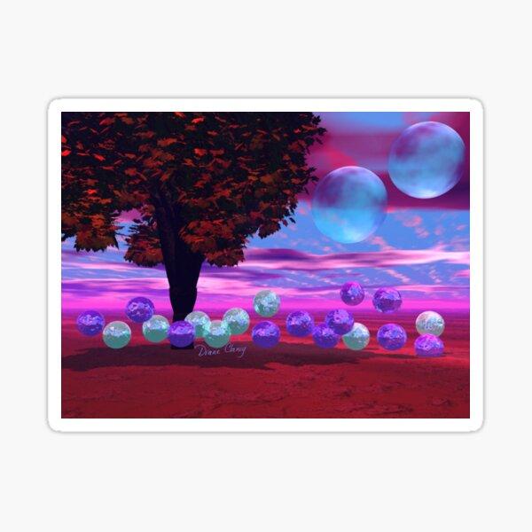 Bubble Garden, Abstract Rose, Violet & Azure Wisdom Sticker