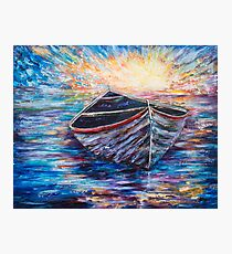 Wooden Boat at Sunrise Photographic Print