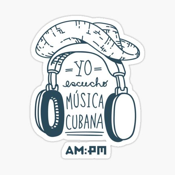I listen to Cuban music (guajiro hat, b / w) Sticker