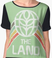 The Land Logo Distressed in Vintage Retro Style Women's Chiffon Top