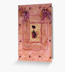 Young Lady In Diamond Wax Collage On Canvas Board Greeting Card