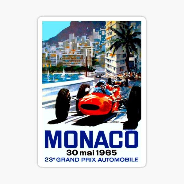 """MONACO GRAND PRIX"" Impression de course automobile vintage Sticker"