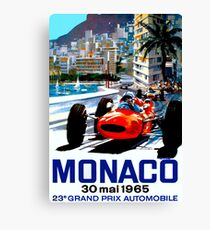 """MONACO GRAND PRIX"" Vintage Auto Racing Print Canvas Print"