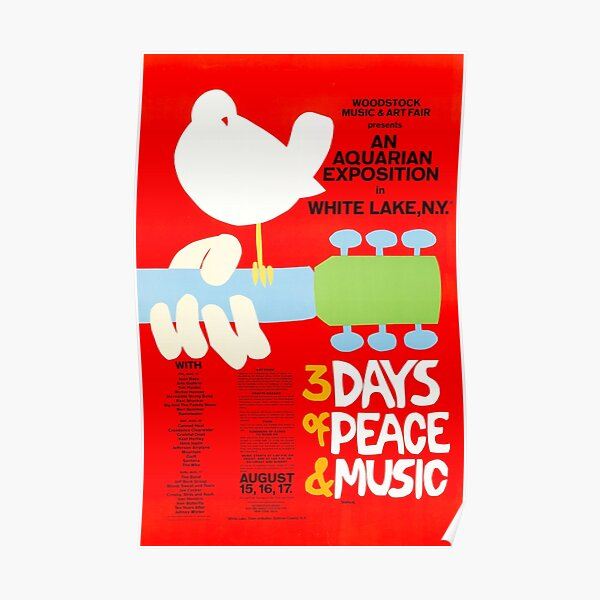 ORIGINAL 1969 WOODSTOCK POSTER - HIGH RESOLUTION SCAN OF ACTUAL POSTER!   Poster