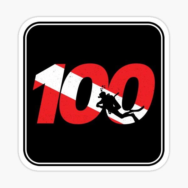 Scuba Diver Gift - 100th Dive - Diver Down - Scuba Diving Sticker