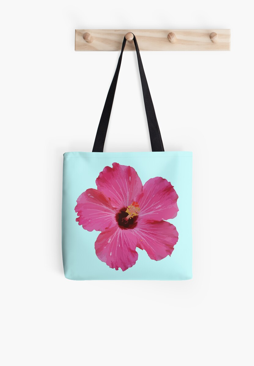 Tropical Pink Flower Graphic Tote Bags By Samantha Sargen Redbubble