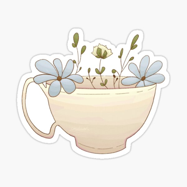 Flowers in a Teacup Sticker