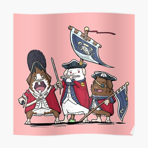 British Redcoat Guinea Pig Bards Poster