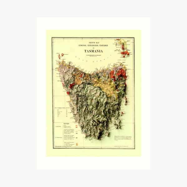 1884 Tasmania Geological Map 3D digitally-rendered Art Print