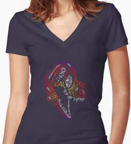 Calligram of the Anatomy of a Tyrannosaur Skull gradient Women's Fitted V-Neck T-Shirt