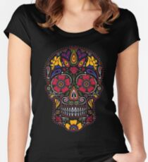 Day of the Dead Sugar Skull Dark Women's Fitted Scoop T-Shirt