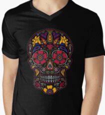 Day of the Dead Sugar Skull Dark Men's V-Neck T-Shirt