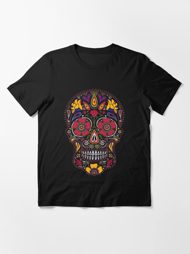 Alternate view of Day of the Dead Sugar Skull Dark Essential T-Shirt