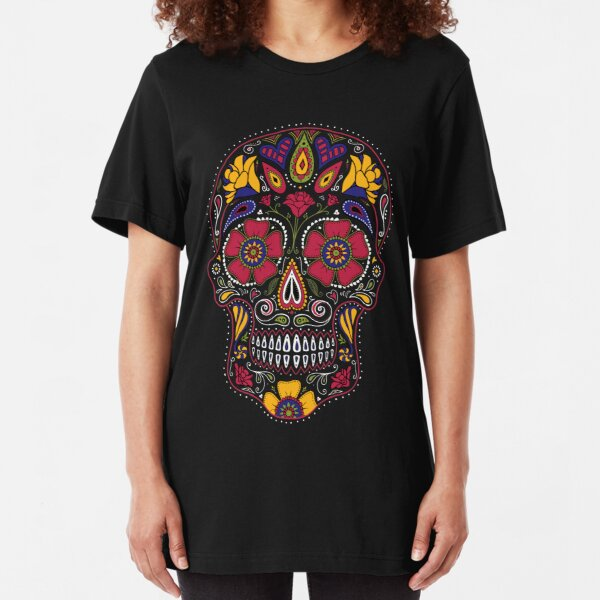 Day of the Dead Sugar Skull Dark Slim Fit T-Shirt