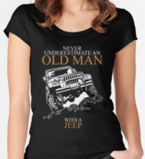 Never Underestimate An Old Man Jeep T-shirts Women's Fitted Scoop T-Shirt