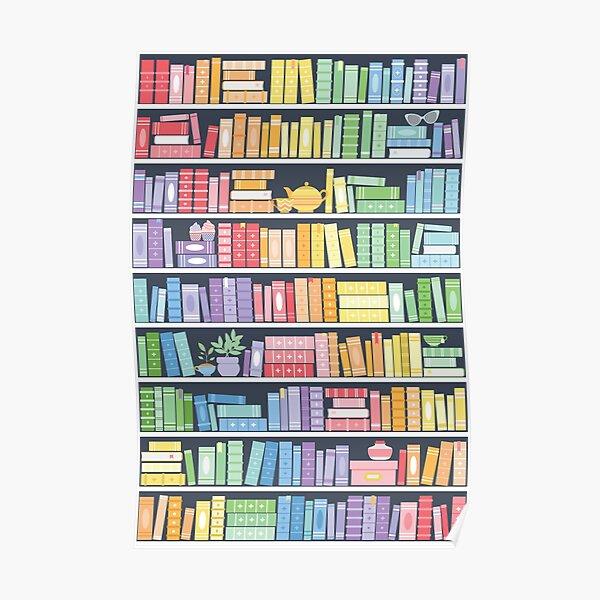 Rainbow Books Shelf Pattern (Black Background) Poster