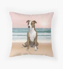 Cute Pitbull Dog Sitting on Beach with sunset Throw Pillow