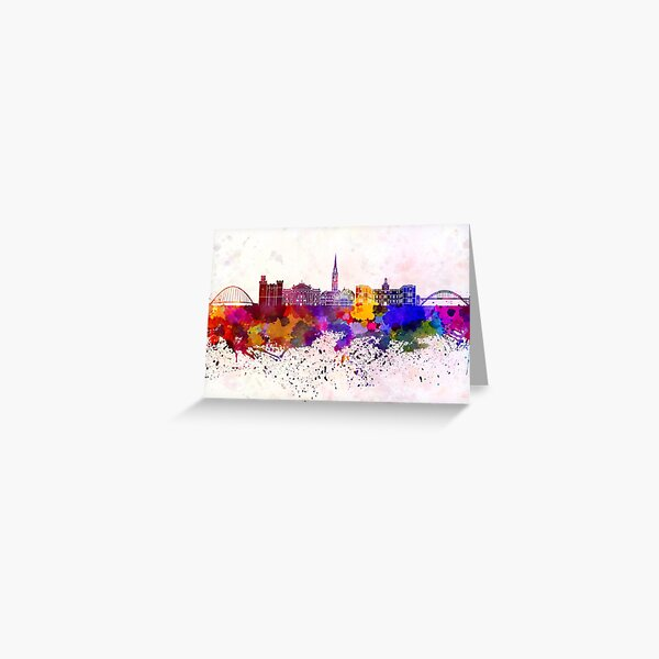 Newcastle skyline in watercolor background Greeting Card
