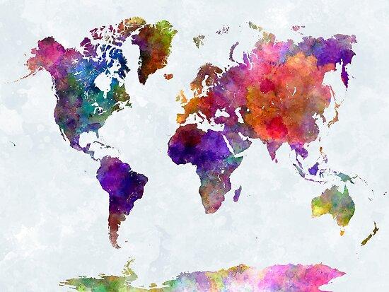 Weltkarte in Aquarell von paulrommer
