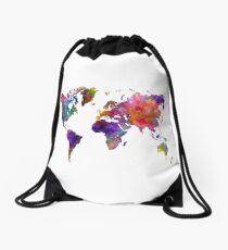 World map in watercolor  Drawstring Bag