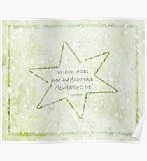 Star haiku on golden clouds Poster