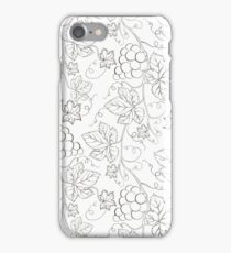 Seamless grape pattern black and white iPhone Case/Skin