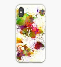World map in watercolor  iPhone Case