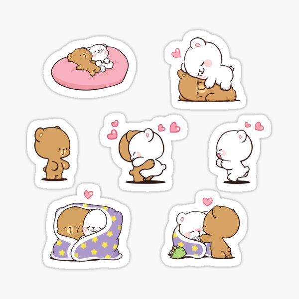 cute milk bears, funny cartoon couple sticker pack Sticker