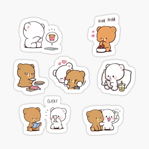 cute milk bears, funny cartoon couple sticker pack Pegatina