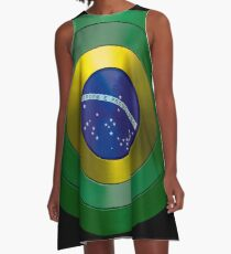 CAPTAIN BRAZIL - Captain America inspired Brazilian shield A-Line Dress