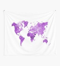 World map in watercolor purple Wall Tapestry