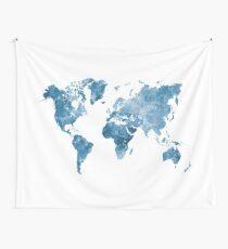 Weltkarte in Aquarell blau Wandbehang
