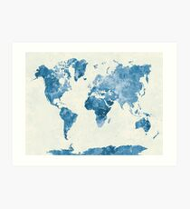 Weltkarte in Aquarell blau Kunstdruck