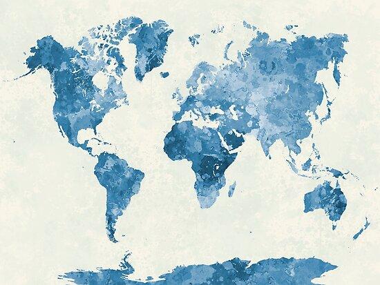 Weltkarte in Aquarell blau von paulrommer