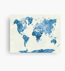Travel abstract art background color colorful concept continent world map in watercolor blue canvas print gumiabroncs Image collections