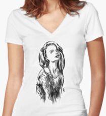 Brush Pose Women's Fitted V-Neck T-Shirt