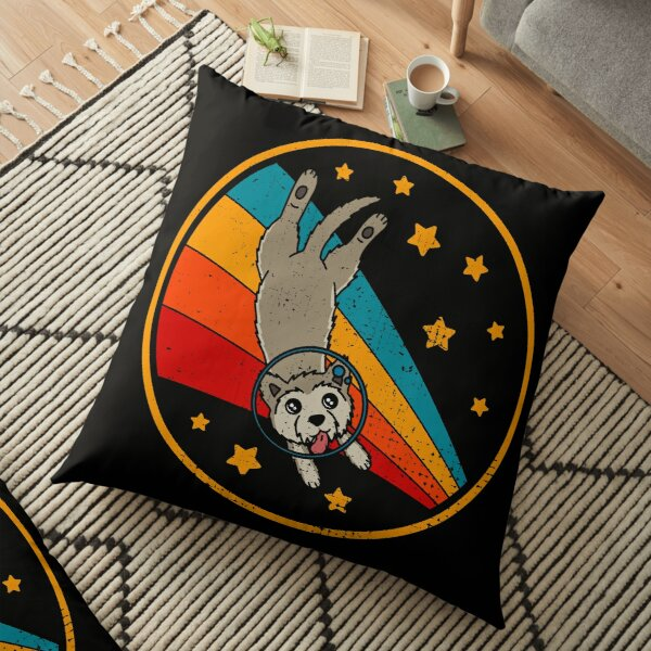 Cute Vintage Berger Picard Dog Retro Picardy Shepherd Dog In Space Floor Pillow