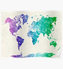 World map in watercolor multicolored Poster