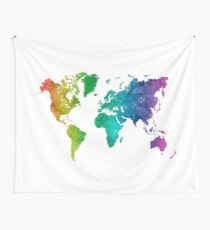 World map in watercolor rainbow Wall Tapestry