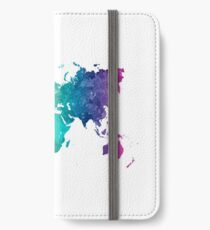 World map in watercolor rainbow iPhone Wallet/Case/Skin